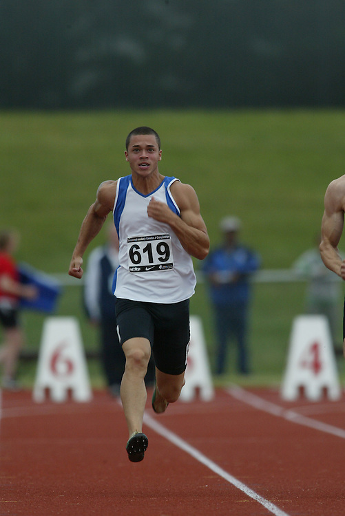 (Charlottetown, Prince Edward Island -- 20090717) Sheldon Seymour of Valley Royals Track & Fie competes in the 100m at the 2009 Canadian Junior Track & Field Championships at UPEI Alumni Canada Games Place on the campus of the University of Prince Edward Island, July 17-19, 2009.  Copyright Sean Burges / Mundo Sport Images , 2009...Mundo Sport Images has been contracted by Athletics Canada to provide images to the media.