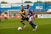 Carlisle United Forward Derek Asamoah on the attack during the Sky Bet League 2 match between Carlisle United and Morecambe at Brunton Park, Carlisle, England on 10 October 2015. Photo by Craig McAllister.