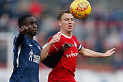 Southend United defender Elvis Bwomono (2) and Accrington Stanley midfielder Sean McConville (11) contest a loose ball  during the EFL Sky Bet League 1 match between Accrington Stanley and Southend United at the Fraser Eagle Stadium, Accrington, England on 23 February 2019.
