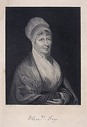 Elizabeth Fry, born Gurney (1780-1845) English Quaker (Society of Friends) prison reformer, with Anna Buxton, visiting women prisoners in Newgate prison, London, 15 February 1813.  Engraving c1860.