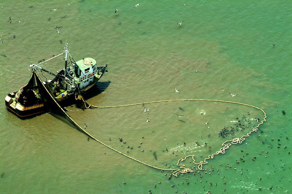 La pesca industrial es un tipo de pesca que tiene como objetivo obtener un gran número de capturas.<br /> <br /> La pesca de arrastre o retropesca es un estilo utilizado actualmente en donde un barco hala de una malla que llega hasta el fondo y va recogiendo y acabando con todo lo que se encuentra a su paso. Es un estilo comparable con la deforestación que tiene casi el mismo impacto ecológico a nivel mundial. Estos se asemejan en la medida que dejan un gran impacto en los suelo hasta el punto de dejarlos casi infértiles. Además el remover los suelos selváticos y acuáticos libera carbono que se encontraba atrapado allí afectando directamente la capa de ozono. Estos afectan más que todo las zonas subpolares y tropicales.<br /> <br /> Estas pesquerías industriales pueden colocar miles de kilómetros de redes invisibles, algunas tan grandes que entrarían 12 jets Jumbo, así como miles de kilómetros de líneas largas con decenas de miles de anzuelos. Muchas de las especies capturadas con las líneas largas son capturas incidentales. Especies que no se buscaban. Muchas veces esta pesca incidental se tira por la borda muerta o muriendo.<br /> <br /> ©Alejandro Balaguer/Fundación Albatros Media.