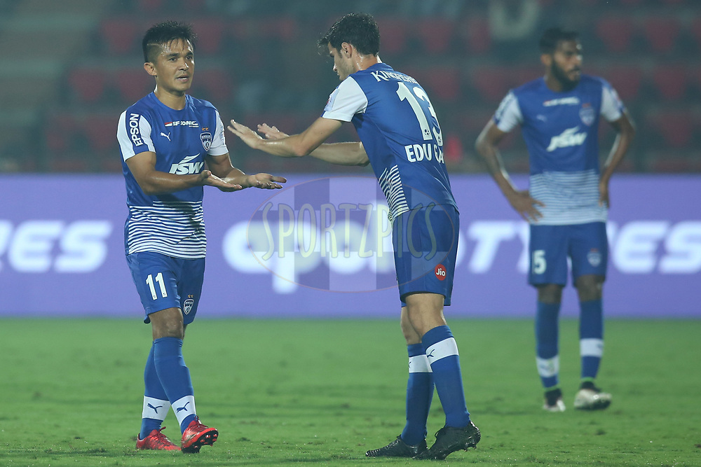 Sunil Chhetri of Bengaluru FC walk back during match 19 of the Hero Indian Super League between NorthEast United FC and Bengaluru FC held at the Indira Gandhi Athletic Stadium, Guwahati India on the 8th December 2017<br /> <br /> Photo by: Deepak Malik  / ISL / SPORTZPICS