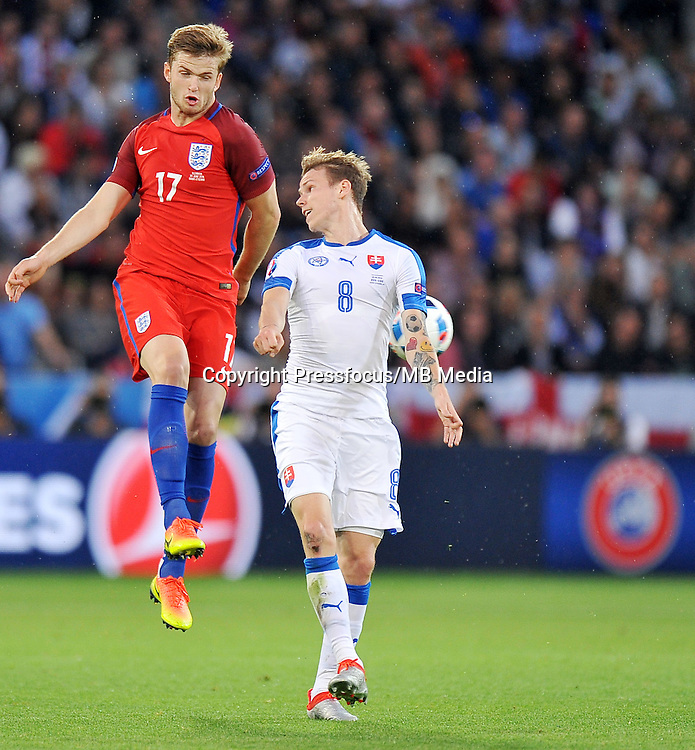 2016.06.20 Saint Etienne<br /> Pilka nozna Euro 2016<br /> mecz grupy B Slowacja - Anglia<br /> N/z Eric Dier Ondrej Duda<br /> Foto Norbert Barczyk / PressFocus<br /> <br /> 2016.06.20 Saint Etienne<br /> Football UEFA Euro 2016 group B game between Slovakia and England<br /> Eric Dier Ondrej Duda<br /> Credit: Norbert Barczyk / PressFocus