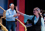 "JULY 8, 2018  LANCASTER, OHIO:<br /> <br /> Director of Theater at Ohio University Lancaster, A. Victor Jones (left), and actress and long time best friend, Jennifer Myers, reherse on stage in the Wagner Theater during a rehearsal practice for the production of ""Hello, Dolly!"" at Ohio University Lancaster."