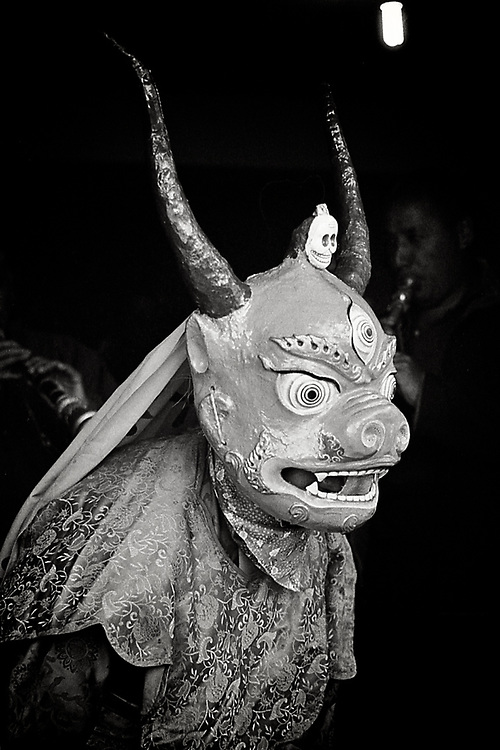 The ritual masks in Tibet are dressed by dancing monks on certain ceremonies to terrifiy evil spirits and to chase them off.  The more terrifying, the better they will keep spirits away and let the monk focus on meditation. <br />