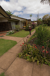 Chile, Easter Island: Hotel Otai, in Hanga Roa, grounds at hotel..Photo #: ch345-33628.Photo copyright Lee Foster www.fostertravel.com lee@fostertravel.com 510-549-2202