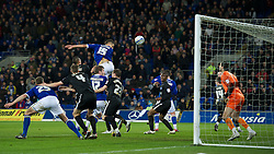 CARDIFF, WALES - Tuesday, February 14, 2012: Cardiff City's Rudy Gestede scores the second goal against Peterborough United during the Football League Championship match at the Cardiff City Stadium. (Pic by David Rawcliffe/Propaganda)