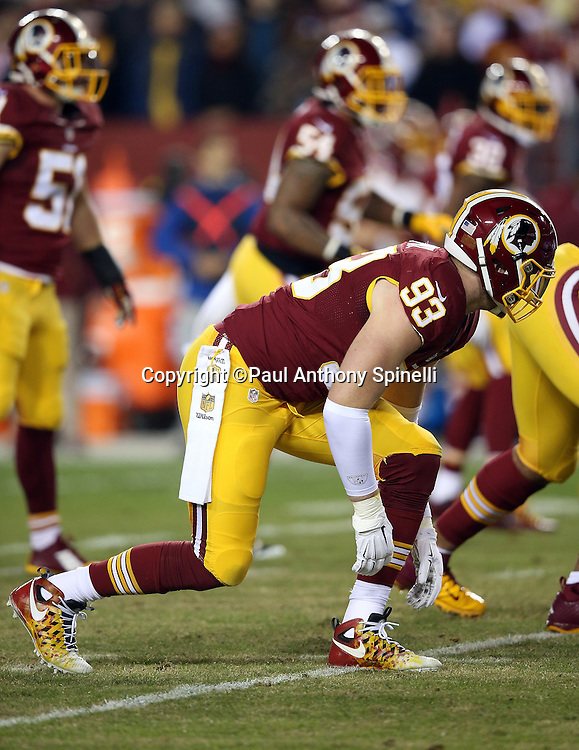 Washington Redskins outside linebacker Trent Murphy (93) gets set during the 2015 week 13 regular season NFL football game against the Dallas Cowboys on Monday, Dec. 7, 2015 in Landover, Md. The Cowboys won the game 19-16. (©Paul Anthony Spinelli)
