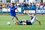 Leeds United midfielder Lewis Baker (34) runs rings around the defence during the Pre-Season Friendly match between Guiseley  and Leeds United at Nethermoor Park, Guiseley, United Kingdom on 26 July 2018. Picture by Simon Davies.