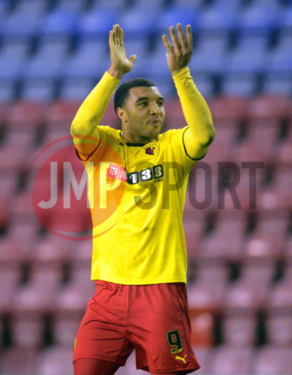 Watford's Troy Deeney salutes the fans at the end of the match - Photo mandatory by-line: Richard Martin-Roberts/JMP - Mobile: 07966 386802 - 17/03/2015 - SPORT - Football - Wigan - DW Stadium - Wigan Athletic  v Watford - Sky Bet Championship