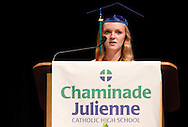 Valedictorian Caroline Scheid delivers the invocation during the Chaminade Julienne High School Class of 2012 commencement exercises at the Schuster Center in downtown Dayton, Monday, May 21, 2012.