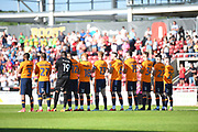 The Oldham Players applaud the fans who are no longer with us during the EFL Sky Bet League 1 match between Northampton Town and Oldham Athletic at Sixfields Stadium, Northampton, England on 5 May 2018. Picture by Dennis Goodwin.