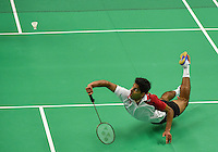 July 16, 2015: Andrew D'Souza of Canada at full stretch for the shuttlecock during the Men's badminton singles final against Kevin Cordon of Guatemala at the ATOS Markham Centre in Toronto during the Pan America Games in Canada.