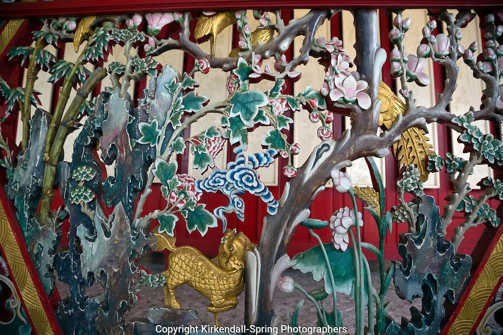 TH00290-00...THAILAND - A fanciful ceramic grill at the Chinese Pavilliion at the Royal Summer Palace, (Bang Pa-In), near Ayutthaya.
