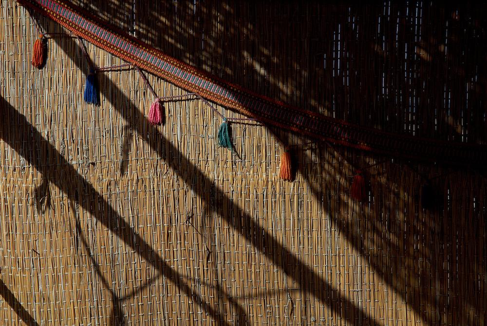 Egypt, Dahab. December/08/2008...Shadows fall strong on the wall of a Dahab beach hut. ..