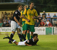 Picture by David Horn/Focus Images Ltd +44 7545 970036<br /> 16/07/2013<br /> Jonathon Smith of Luton Town watches as his header hits the back of the net for his team's 4th goal of the game during the Pre Season Friendly match at Top Field, Hitchin.