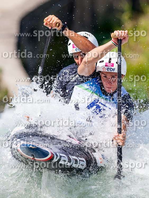 Gauthier Klauss and Matthieu Peche of France during Canoe (C2) Man semi-final race at ICF Canoe Slalom World Cup Sloka 2013, on August 18, 2013, in Tacen, Ljubljana, Slovenia. (Photo by Urban Urbanc / Sportida.com)