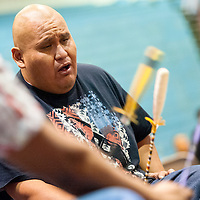 11031313    Brian Leddy<br /> Jason Smith of the drum group Southern Slam performs during a powwow Friday night in Ft. Defiance.