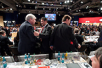 13 NOV 2009, DRESDEN/GERMANY:<br /> Michael Sommer (L), DGB Bundesvorsitzender, und Sigmar Gabriel (R), SPD Parteivorsitzender, Gratulationen nach Gabriels Wahl zum Parteivorsitzenden, SPD Bundesparteitag, Messe Dresden<br /> IMAGE: 20091113-01-404<br /> KEYWORDS: party congress, SPD Parteitag, Applaus, applaudieren, klatschen