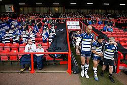 Bristol Rugby Winger David Lemi (capt) leads out the side - Mandatory byline: Rogan Thomson/JMP - 30/01/2016 - RUGBY UNION - Ashton Gate Stadium - Bristol, England - Bristol Rugby v Jersey - Greene King IPA Championship.