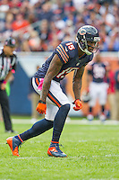 06 October 2013: Wide receiver (15) Brandon Marshall of the Chicago Bears lines up against the New Orleans Saints during the second half of the Saints 26-18 victory over the Bears in an NFL Game at Soldier Field in Chicago, IL.