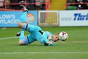 Exeter City's Robert Olejnik makes a save early in the game during the Sky Bet League 2 match between Exeter City and Northampton Town at St James' Park, Exeter, England on 16 April 2016. Photo by Graham Hunt.