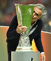 Trainer Jose Mourinho mit Pokal, Manchester Europa 2017Manchester Europa League Sieger 2017<br /> Stockholm, 24.05.2017, Fussball, Europa League, Finale 2017, Ajax Amsterdam - Manchester United 0:2<br /> norway only