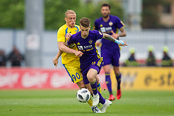 Zeni Husmani of NK Domzale and Luka Zahovic of NK Maribor during football match between NK Domzale and NK Maribor in Round #32 of Prva liga Telekom Slovenije 2017/18, on May 9, 2018 in Sports park Domzale, Domzale, Slovenia. Photo by Urban Urbanc / Sportida