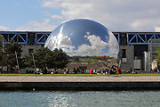 La Geode, housing an IMAX cinema, built in 1985 by Adrien Fainsilber, at the Cite des Sciences et de l'Industrie, opened 1986, in the Parc de la Villette, in the 19th arrondissement of Paris, France. The CSI is the biggest science museum in Europe, with a planetarium, a submarine, an IMAX theatre and 3 huge greenhouses in its bioclimatic facade.  Picture by Manuel Cohen