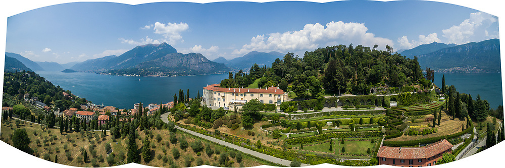 Aerial panorama of the Rockefeller Foundation Bellagio Center, Lake Como, Italy.