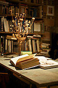 open book under lamp light