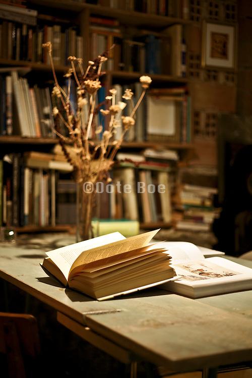 open book under lamp light