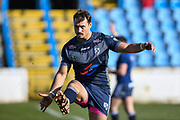 Dane Chisholm (7) of Featherstone Rovers warming up before the Betfred Championship match between Featherstone Rovers and Halifax RLFC at the Big Fellas Stadium, Featherstone, United Kingdom on 9 February 2020.