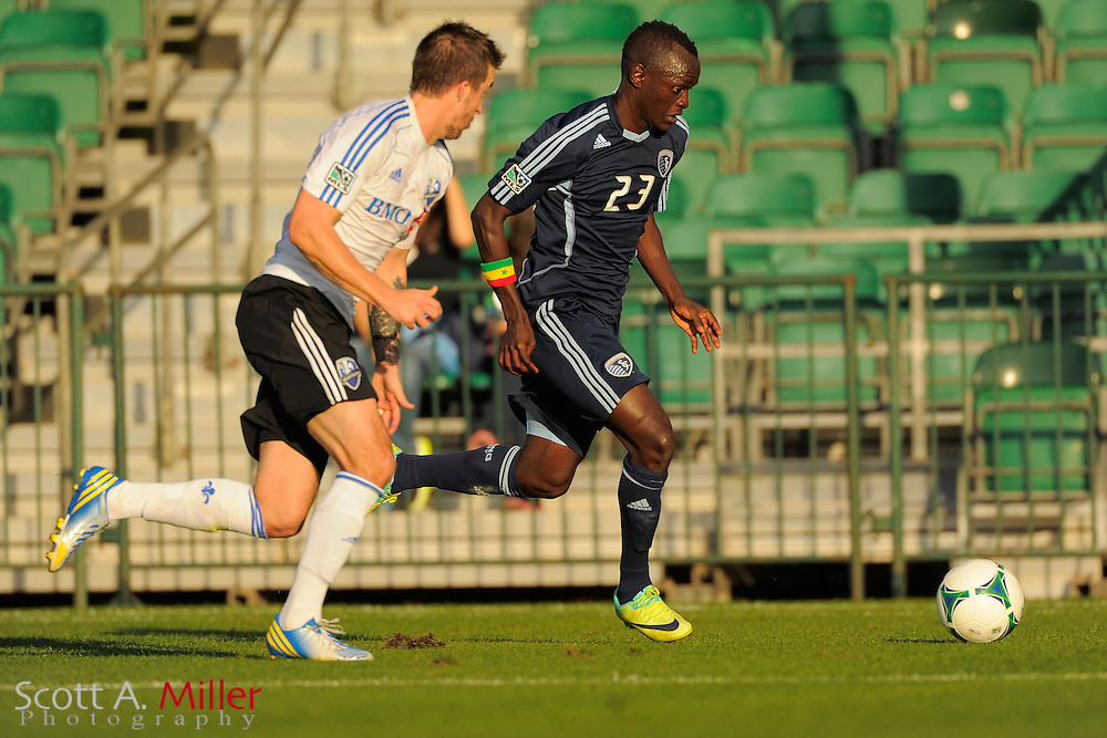 Sporting KC midfielder Adama Mbengue (23) during the Disney Pro Soccer Classic on Feb 9, 2013  in Lake Beuna Vista, Florida. ..©2013 Scott A. Miller