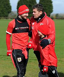 Bristol City manager, Steve Cotterill interrupts an interview with Bristol City's Wade Elliott and Connor  - Photo mandatory by-line: Dougie Allward/JMP - Mobile: 07966 386802 - 01/04/2015 - SPORT - Football - Bristol - Bristol City Training Ground - HR Owen and SAM FM