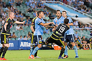February 8, 2017: Sydney FC forward Filip HOLOSKO (21) and Wellington Phoenix Tom DOYLE (19) have a bit of push and shove at Round 19 of the 2017 Hyundai A-League match, between Sydney FC and Wellington Phoenix played at Allianz Stadium in Sydney. Sydney FC won the game 3-1.