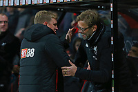 Football - 2017 / 2018 Premier League - AFC Bournemouth vs. Liverpool<br /> <br /> Bournemouth's Manager Eddie Howe greets Liverpool Manager Jurgen Klopp before kick off at Dean Court (Vitality Stadium) Bournemouth <br /> <br /> COLORSPORT/SHAUN BOGGUST