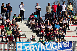 Supporters of Triglav during football match between NK Triglav Gorenjska and NK Olimpija in 27th Round of Slovenian 1st League PrvaLiga, on April 10, 2011 in Sports park Kranj, Slovenia. (Photo By Vid Ponikvar / Sportida.com)