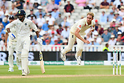 Stuart Broad of England bowling during second day of the Specsavers International Test Match 2018 match between England and India at Edgbaston, Birmingham, United Kingdom on 2 August 2018. Picture by Graham Hunt.