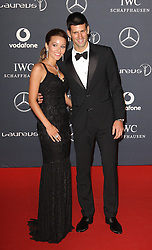 NOVAK DJOKOVIC arrives at the Laureus Sport Awards held at the Queen Elizabeth II Centre, London, Monday February 6, 2012. Photo By i-Images