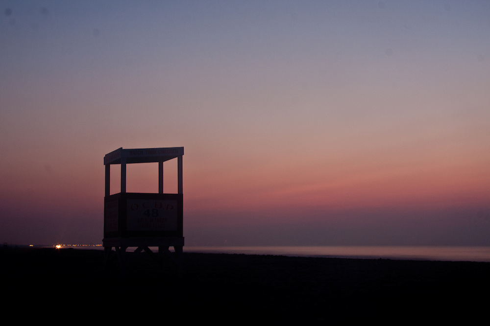 The lifeguard stand at 48th street in Ocean City NJ is silhouetted by the sunrise on August 20 2010.