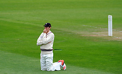 Dejection for Somerset's Craig Overton. Photo mandatory by-line: Harry Trump/JMP - Mobile: 07966 386802 - 10/05/15 - SPORT - CRICKET - Somerset v New Zealand - Day 3- The County Ground, Taunton, England.