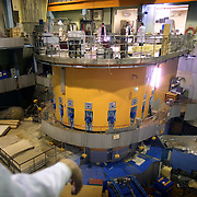 A scientist looks at a research reactor, containing highly-enriched uranium, at the Moscow Civic Engineering Institute.