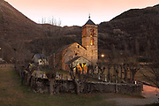 Church of Sant Feliu de Barruera, or Esglesia de Sant Feliu, an 11th century early Romanesque church in the La Vall de Boi region, Lleida, Catalonia, Spain. The church has a single barrel vaulted nave, a semicircular apse and a lateral chapel. The church forms part of the UNESCO World Heritage Site, Catalan Romanesque Churches of the Vall de Boi. Picture by Manuel Cohen
