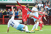 Gavin Tomlin is inches away from equalling for Crawley during the Sky Bet League 1 match between Crawley Town and Coventry City at the Checkatrade.com Stadium, Crawley, England on 3 May 2015. Photo by Michael Hulf.