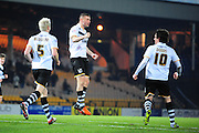 Goal! Carl Dickinson of Port Vale FC celebrates his first half goal during the Sky Bet League 1 match between Port Vale and Southend United at Vale Park, Burslem, England on 26 February 2016. Photo by Mike Sheridan.