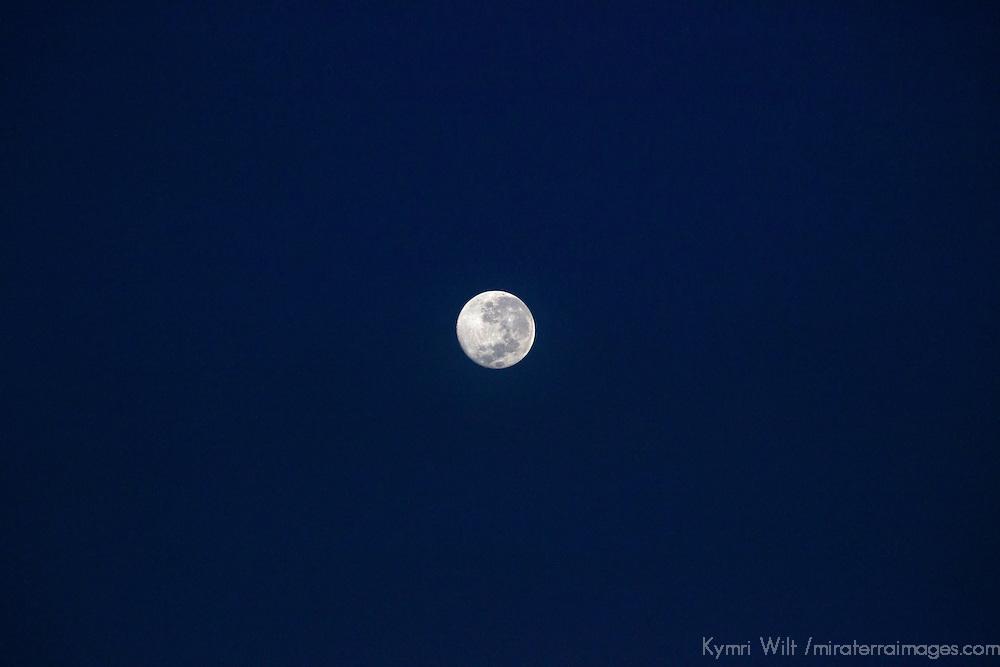 South America, Peru, Laka Titicaca. Full Super Moon in sky.