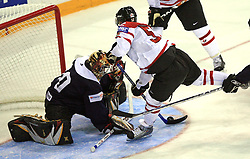 Goalkeeper Sergejs Naumovs and Mike Green at ice-hockey match Canada vs Latvia (with replika jerseys from year 1936) at Preliminary Round (group B) of IIHF WC 2008 in Halifax, on May 04, 2008 in Metro Center, Halifax, Nova Scotia, Canada. (Photo by Vid Ponikvar / Sportal Images)
