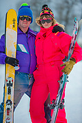 Nicole Yount, a board member of Hatcher Alpine Xperience, and her husband, Brian, put on their 80's ski outfits to help promote the non-profit's upcoming movie night event.