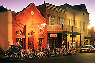 No Name Saloon on Main Street, Park City, Utah  at dusk with motorcycles in front.